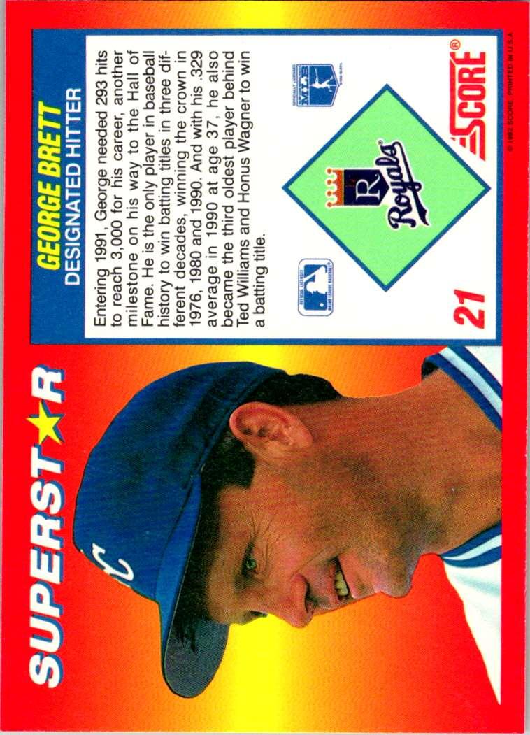 1992 Score 100 Superstars George Brett #21 card back image