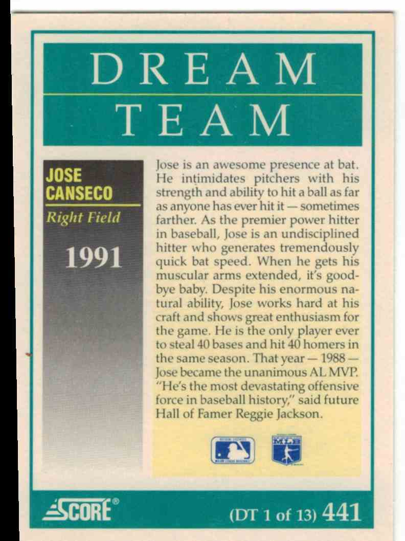1991 Score Jose Canseco #DT1 card back image