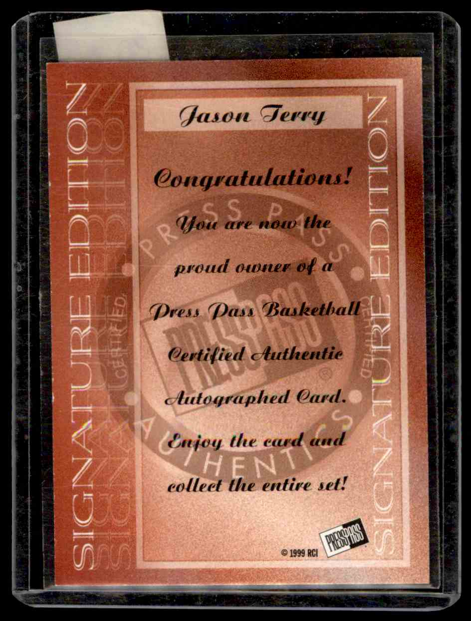 1999-00 Press Pass Authentics Autographs Jason Terry #8 card back image