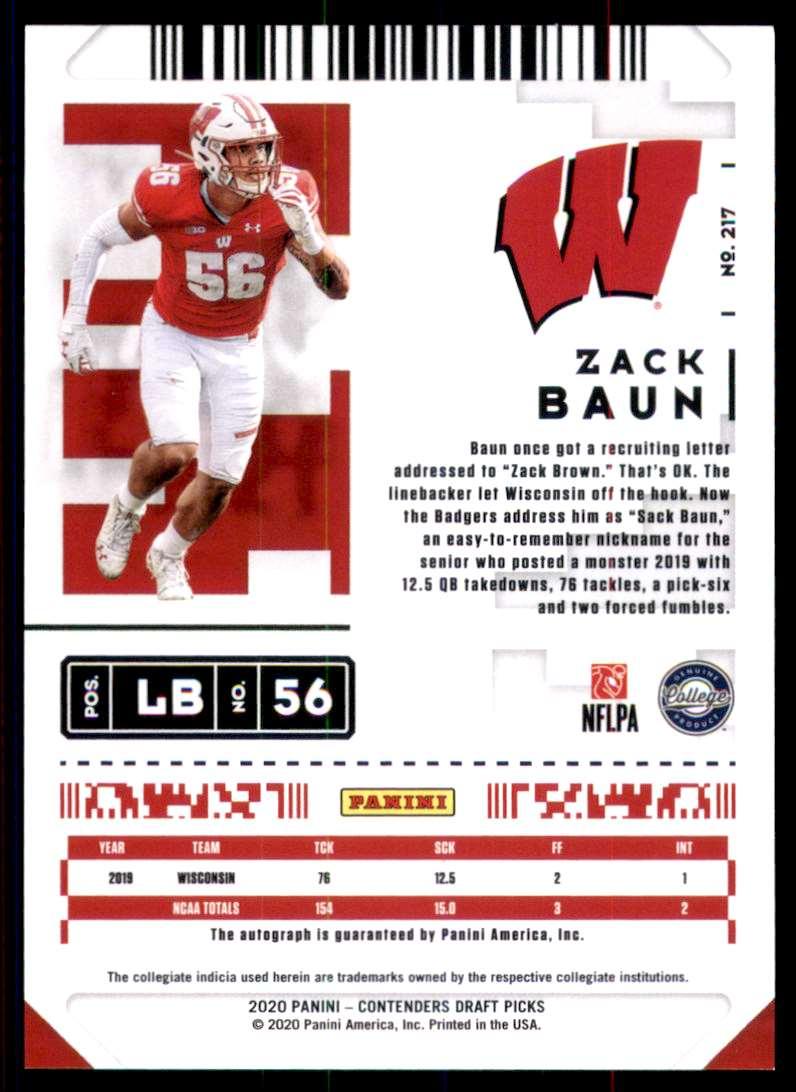 2020 Panini Contenders Draft Picks Zack Baun Au RC #217 card back image
