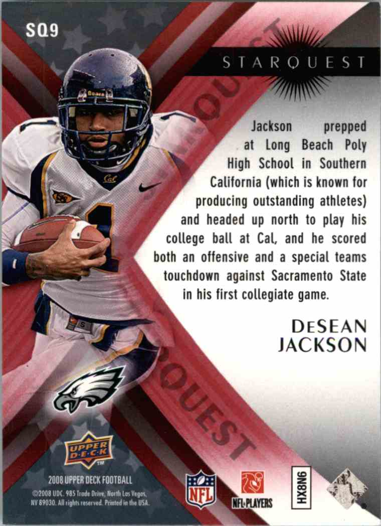 2008 Upper Deck Desean Jackson #SQ9 card back image