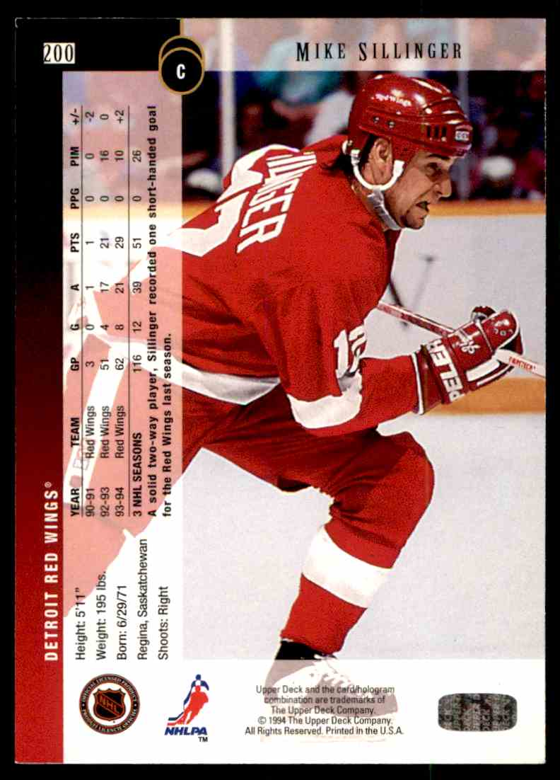 1994-95 Upper Deck Mike Sillinger #200 card back image