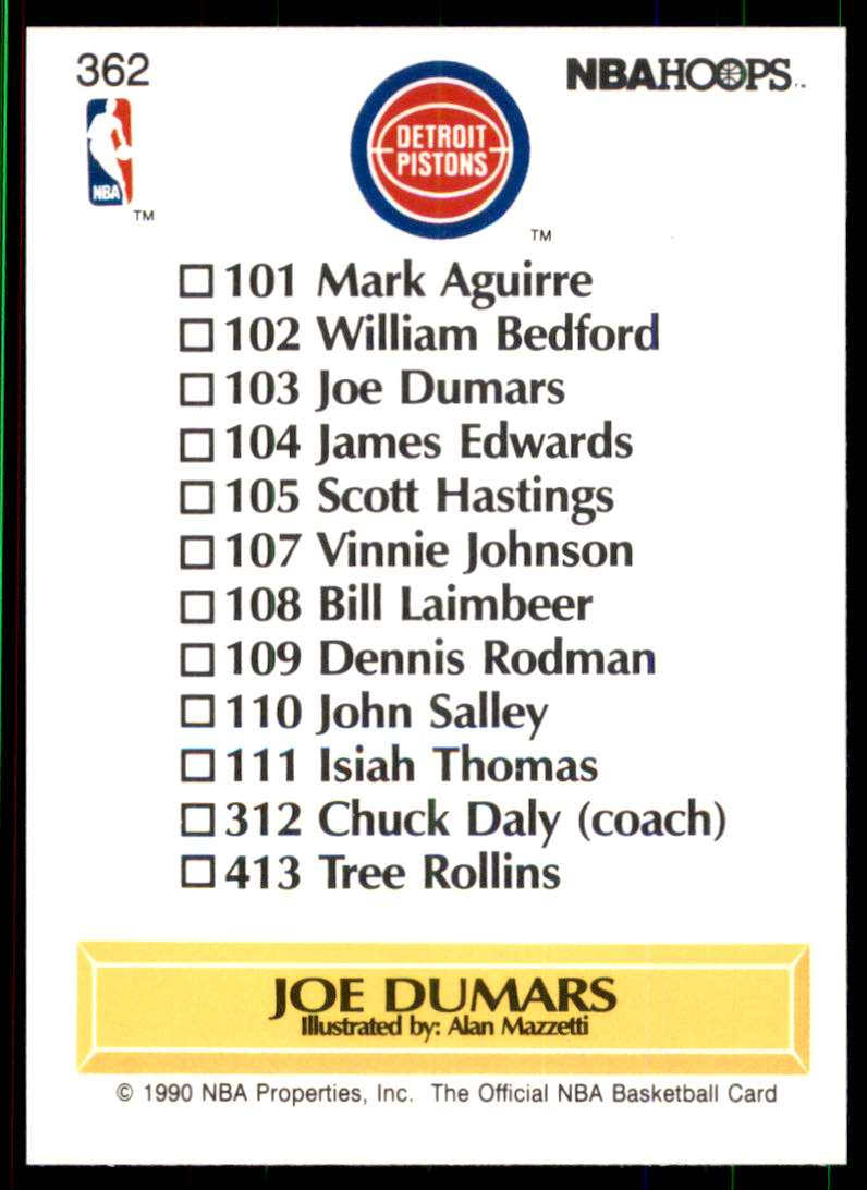 1990-91 Hoops Joe Dumars Tc #362 card back image