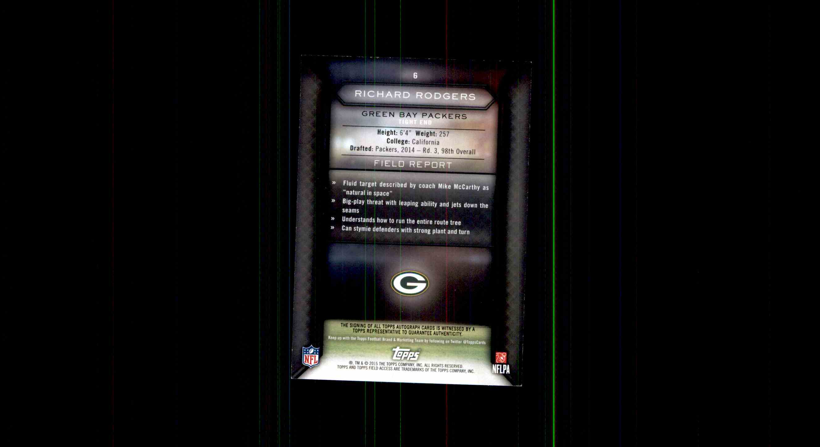 2015 Topps Field Access Richard Rodgers card back image