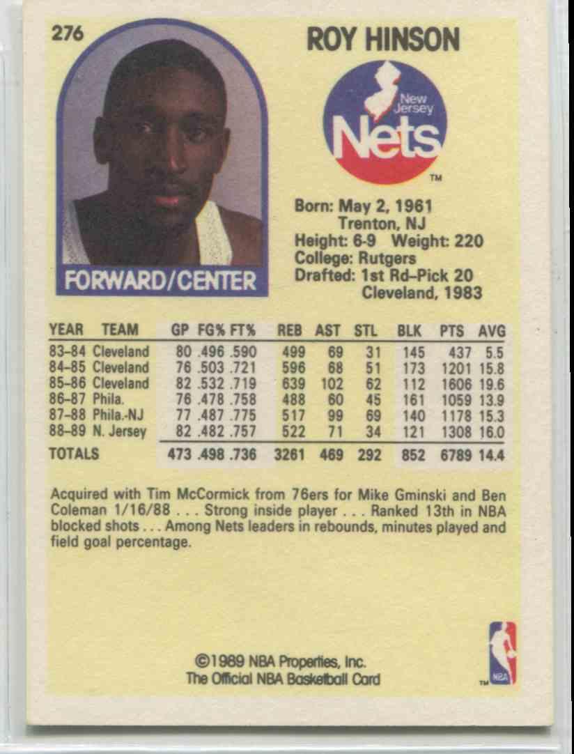 1989 90 NBA Hoops Roy Hinson 276 on Kronozio