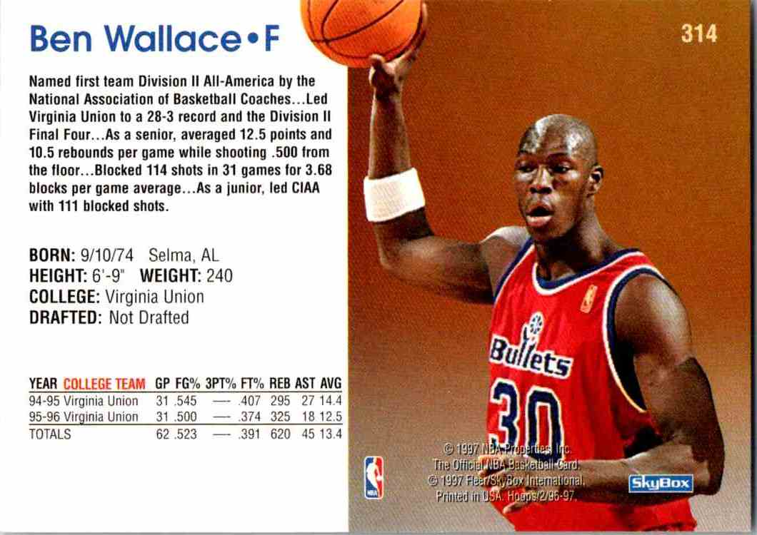 1997-98 NBA Hoops Ben Wallace #314 card back image
