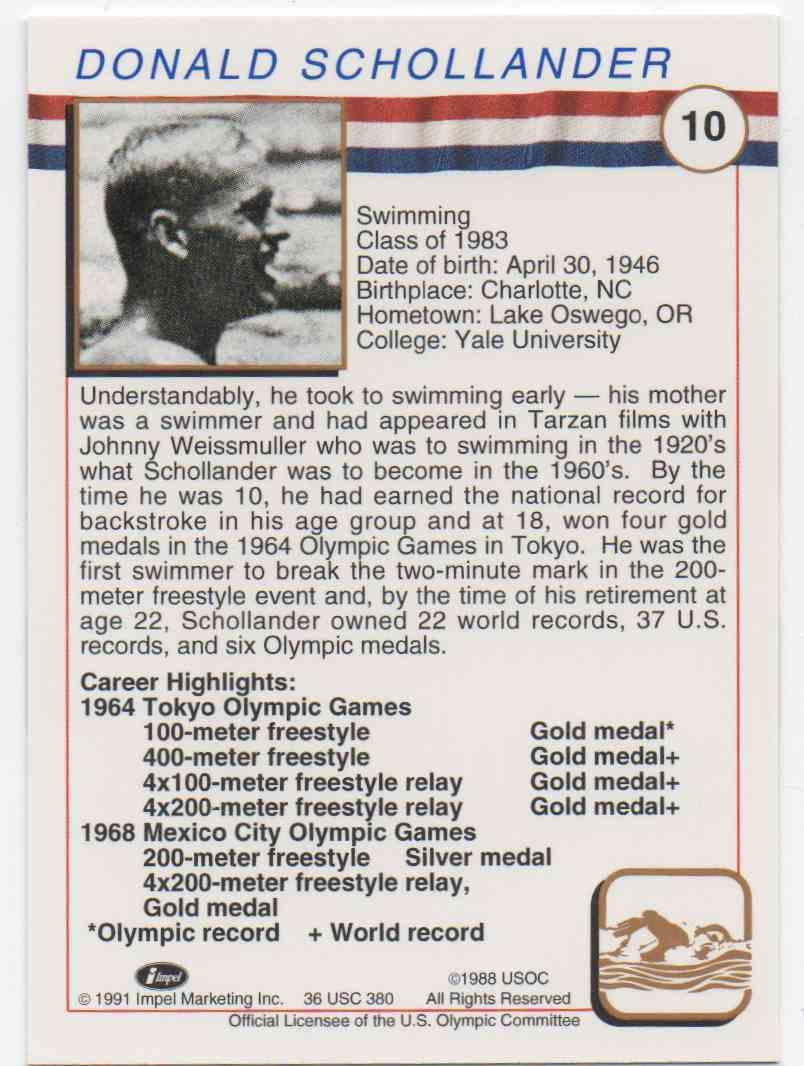 1991 Impel U.S. Olympic Hall Of Fame Don Schollander #10 card back image