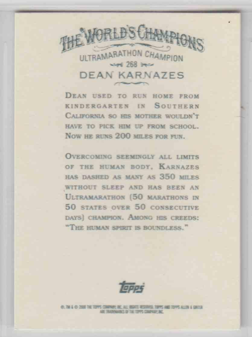 2008 Topps Allen And Ginter Dean Karnazes #268 card back image