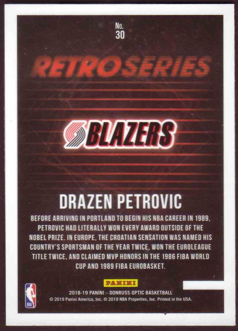 2018-19 Donruss Optic Retro Series Drazen Petrovic #30 card back image