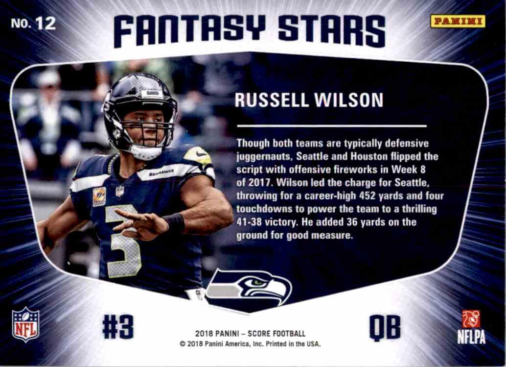2018 Panini Score Fantasy Stars Russell Wilson #12 card back image