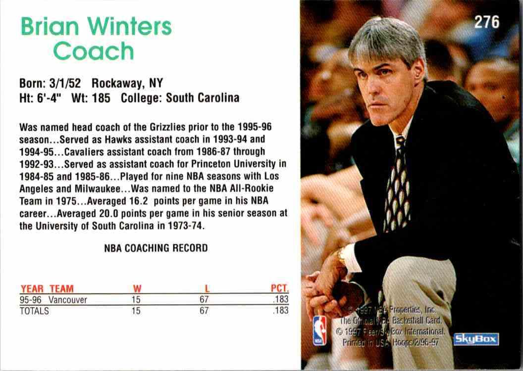 1997-98 NBA Hoops Brian Winters #276 card back image