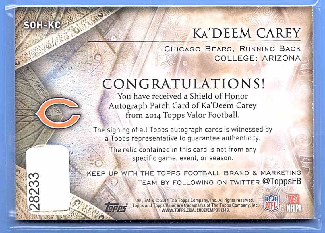 2014 Topps Valor Shield Of Honor Patch Autographs Ka'Deem Carey #SOH-KC card back image