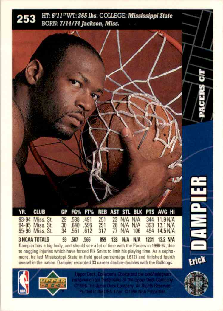 1996-97 Collector's Choice Erick Dampier #253 card back image
