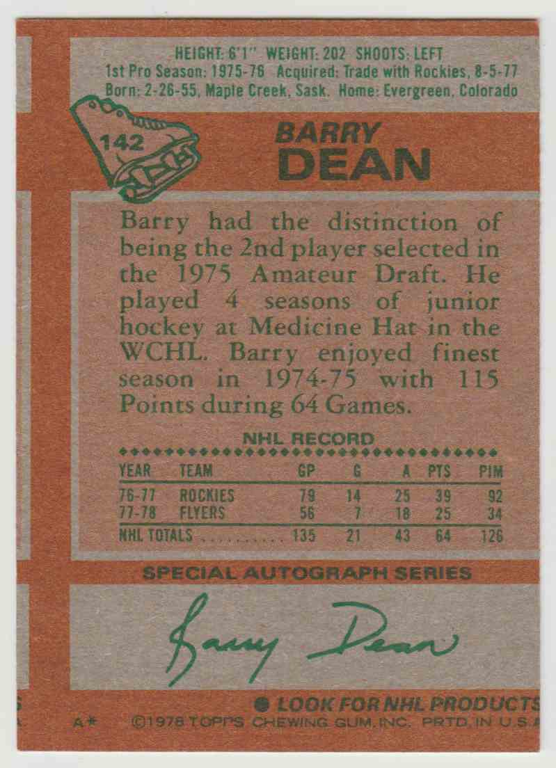 1978-79 Topps Barry Dean #142 card back image