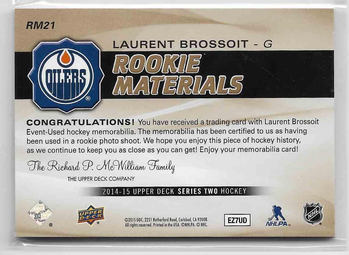 2014-15 Upper Deck Laurent Brossoit #RM21 card back image