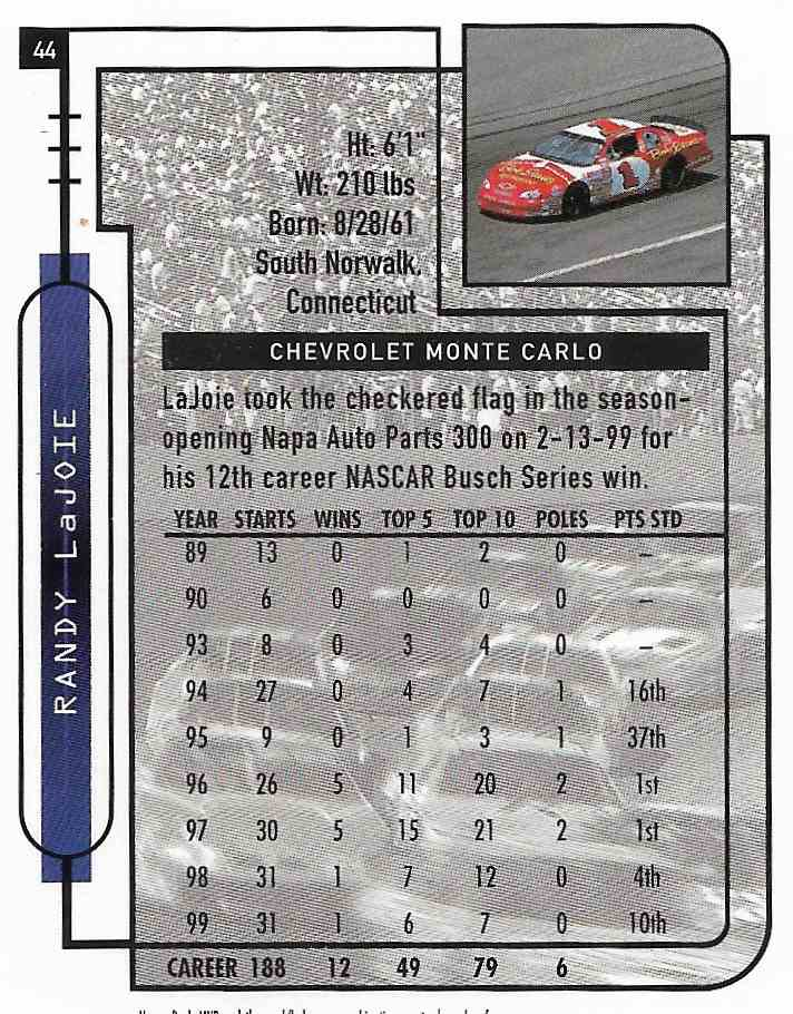 2000 Upper Deck MVP Randy LaJoie #44 card back image