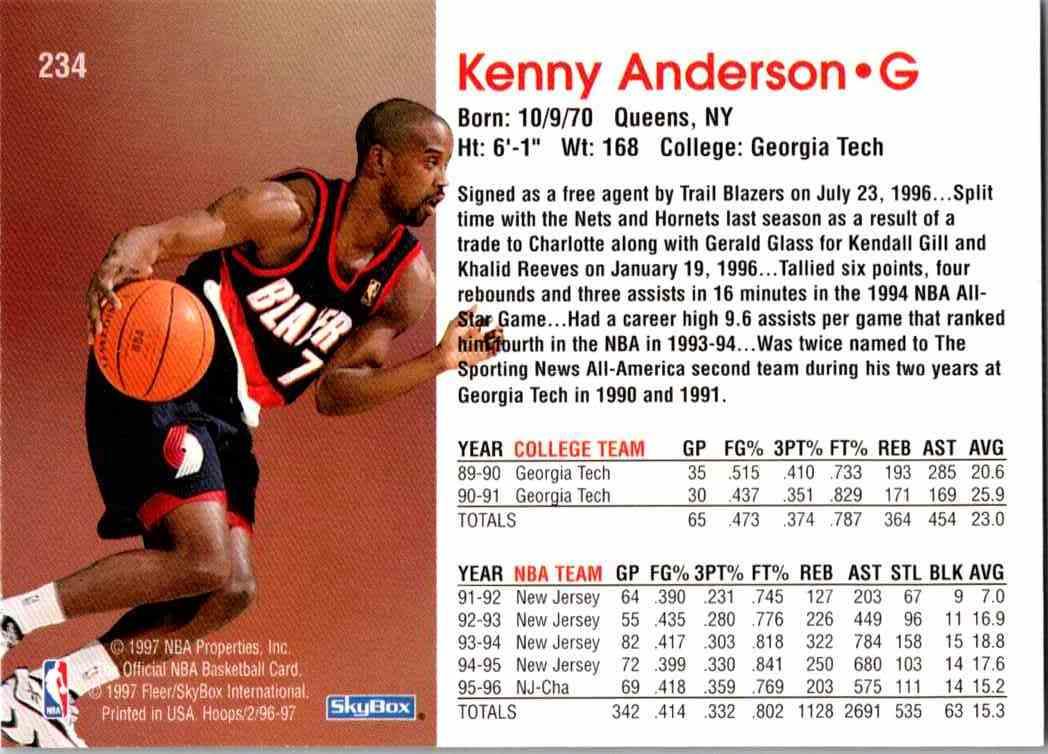 1997-98 NBA Hoops Kenny Anderson #234 card back image