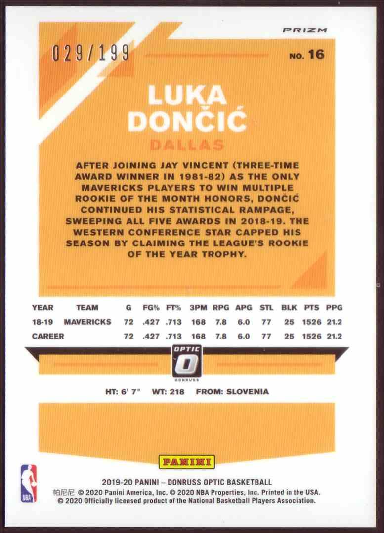 2019-20 Donruss Optic Orange Luka Dončić #16 card back image