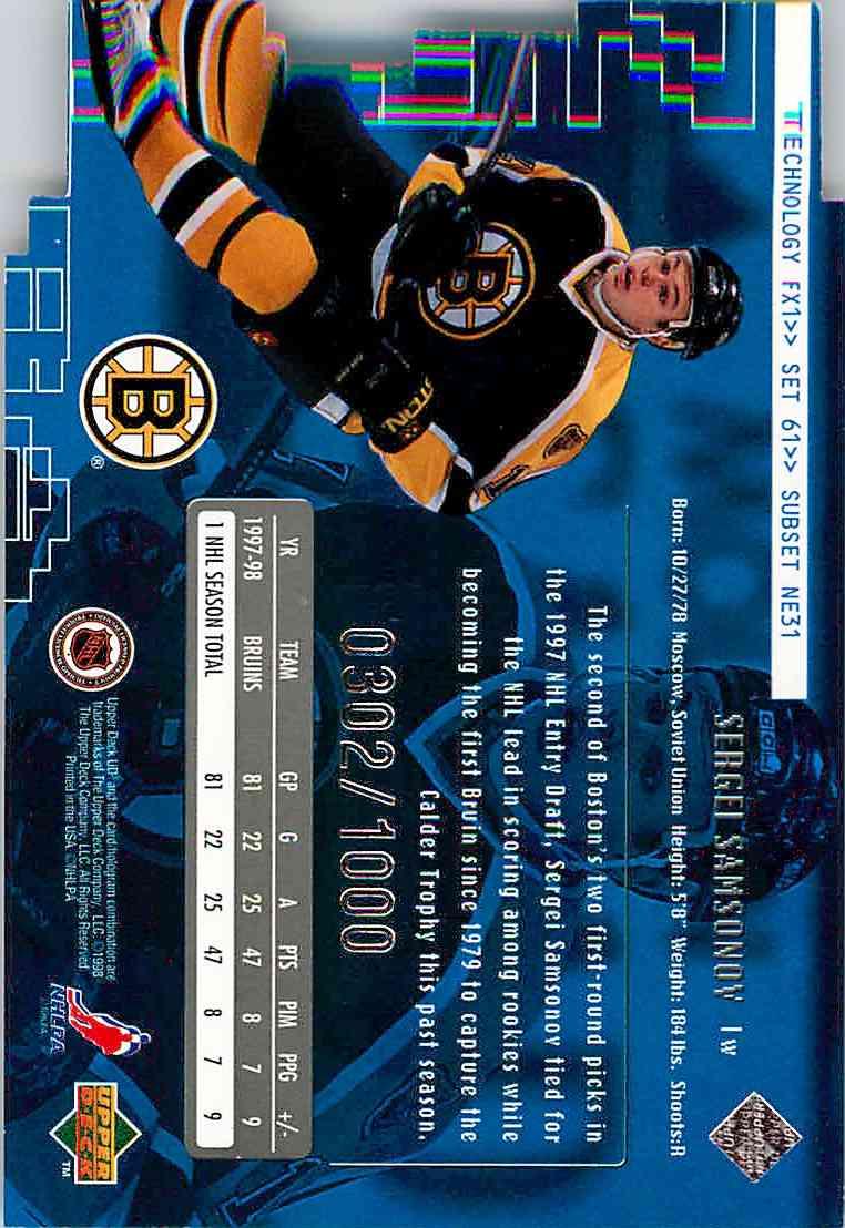 1998-99 Upper Deck Sergei Samsonov #NNO card back image