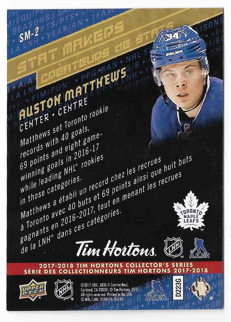 2017-18 UD Tim Hortons Auston Matthews #SM-2 card back image