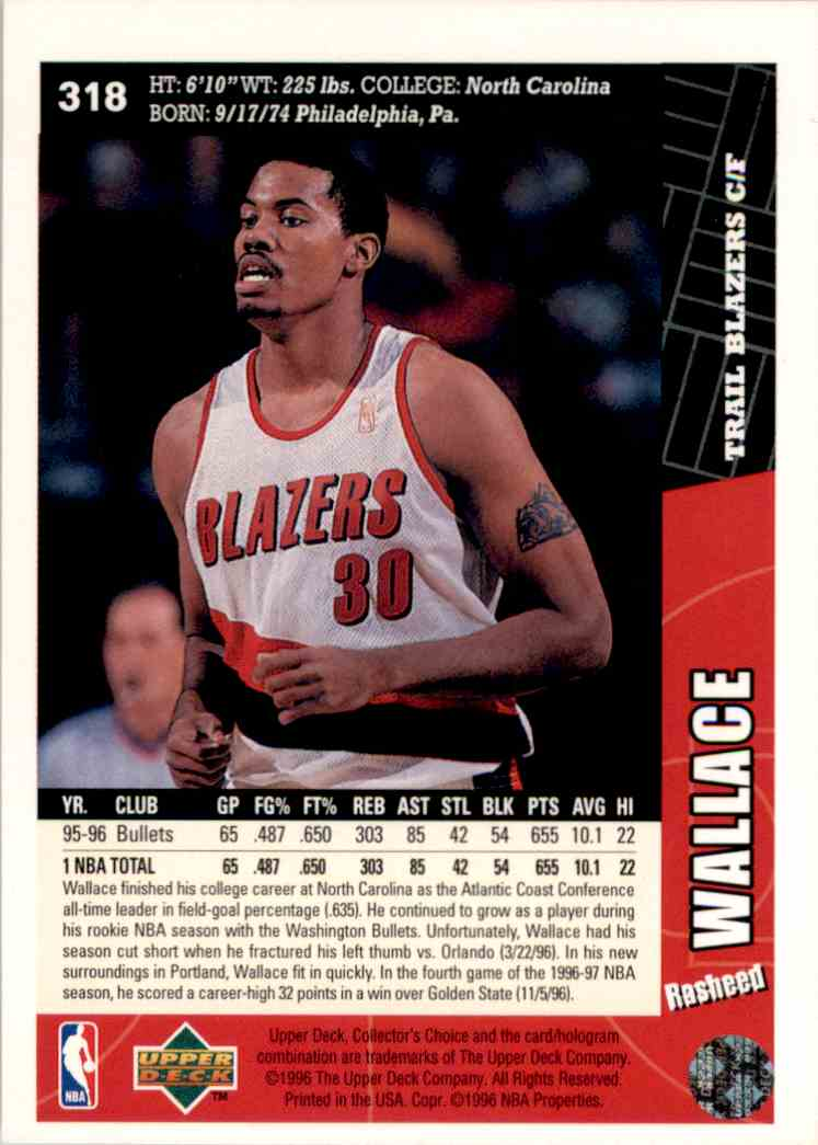 1996-97 Collector's Choice Rasheed Wallace #318 card back image