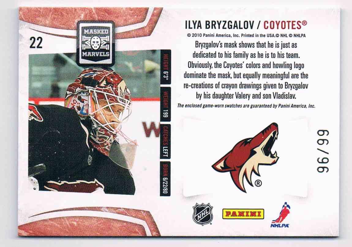 2010-11 Panini Certified Masked Marvels Ilya Bryzgalov #22 card back image