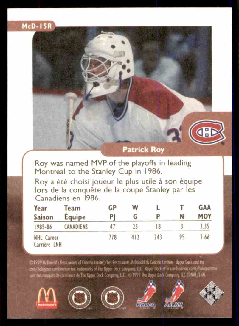 Real Card Back Image 1999 00 Upper Deck Mcdonalds Retro The Rookie Year Patrick Roy MCD 15R