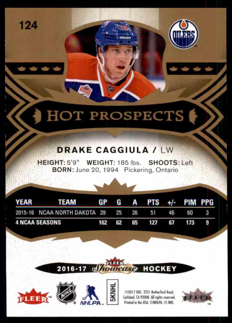 2016-17 Fleer Showcase Hot Prospects Drake Caggiula #124 card back image