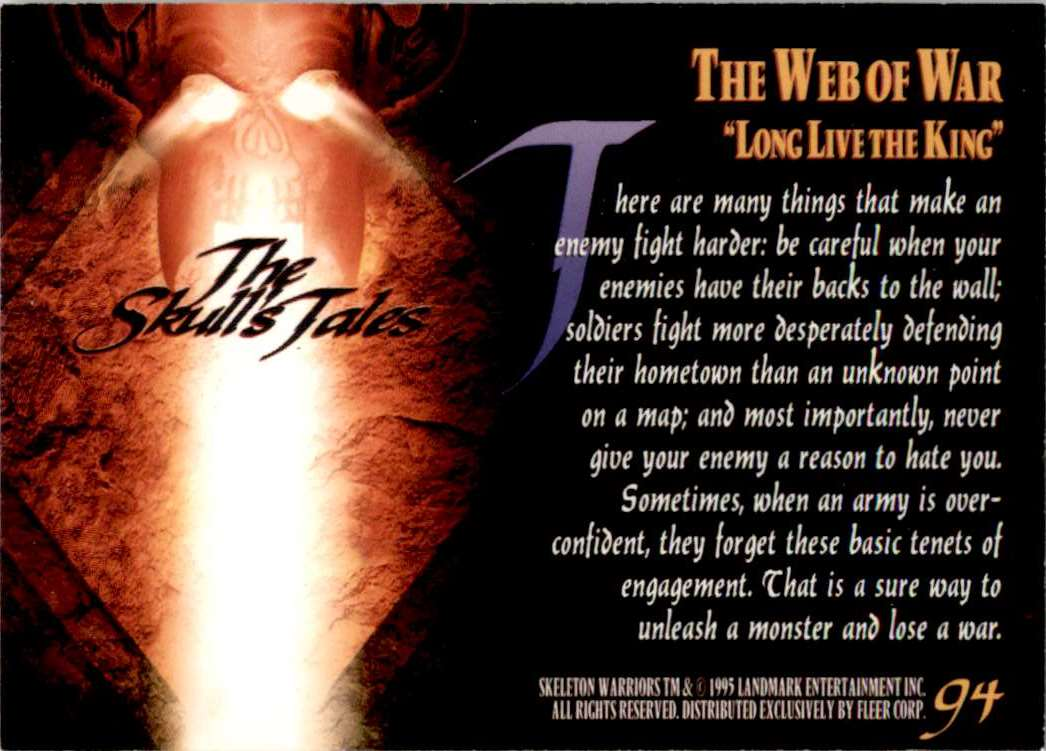 1995 Skeleton Warriors Ultra The Web Of War: Long Live The King #94 card back image