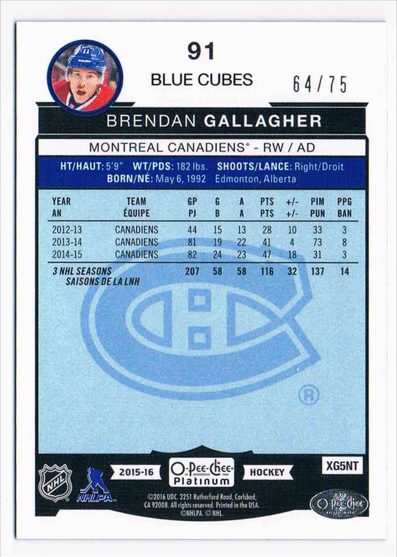 2015-16 Upper Deck O-Pee-Chee Platinum Blue Cubes Brendan Gallagher #91 card back image
