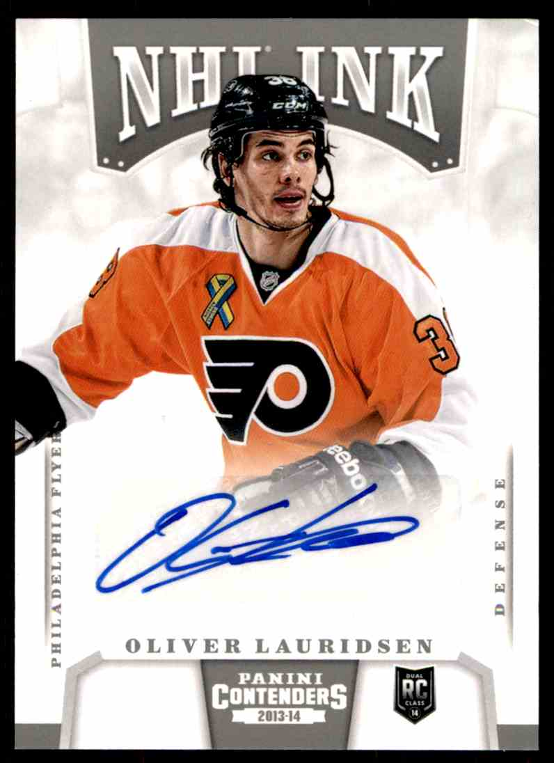2013-14 Panini Contenders NHL Ink Olivier Lauridsen #I-OL card front image
