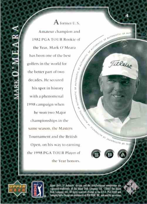 2001 SP Authentic Preview Mark O'Meara #4 card back image