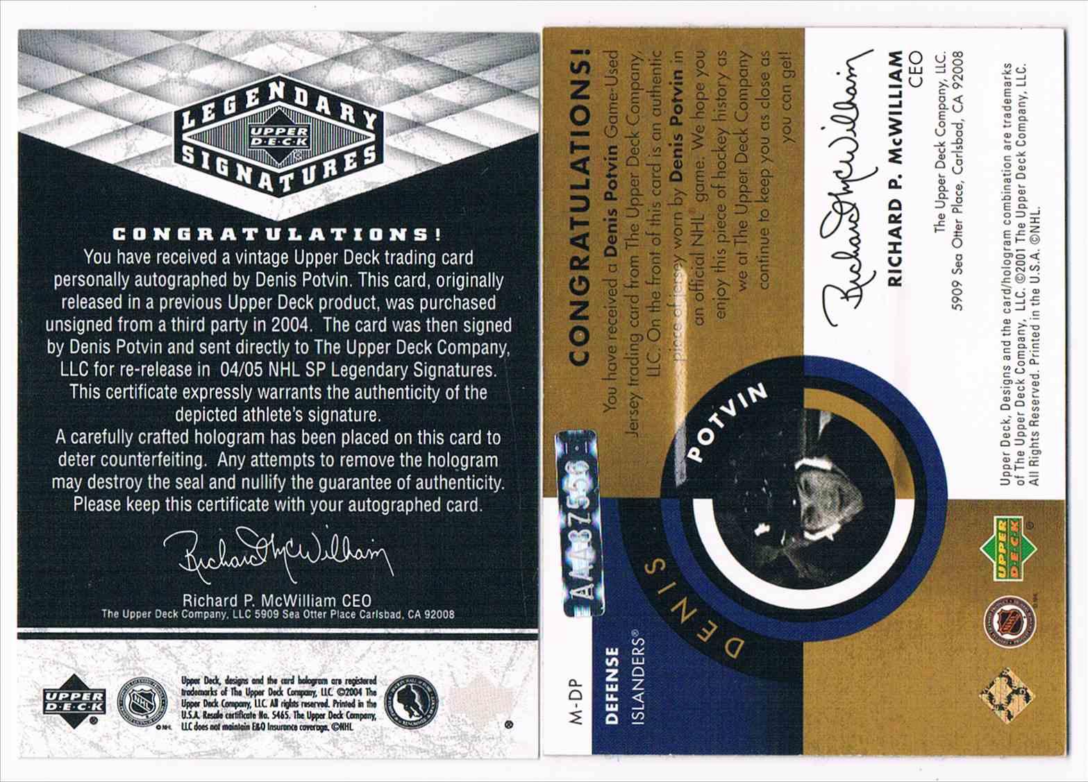 2004-05 Upper Deck Legendary Signatures NHL Legends Milestone 100 Points Denis Potvin #M-DP card back image