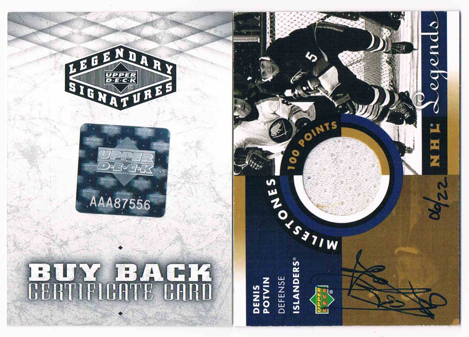 2004-05 Upper Deck Legendary Signatures NHL Legends Milestone 100 Points Denis Potvin #M-DP card front image