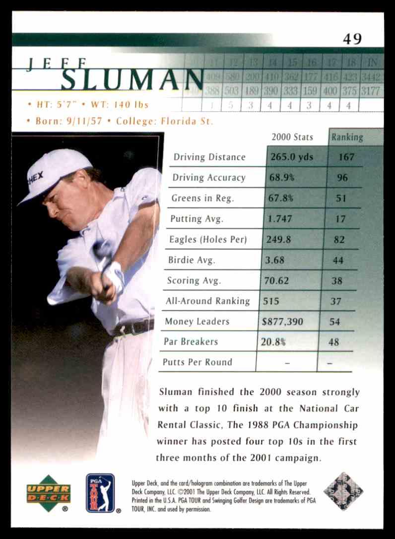 2001 Upper Deck Jeff Sluman #49 card back image