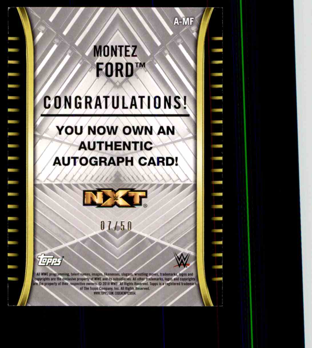 2018 Topps Wwe Nxt Montez Ford card back image