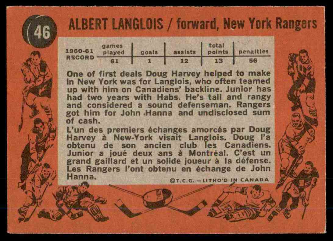 1961-62 Topps Albert Langlois #46 card back image