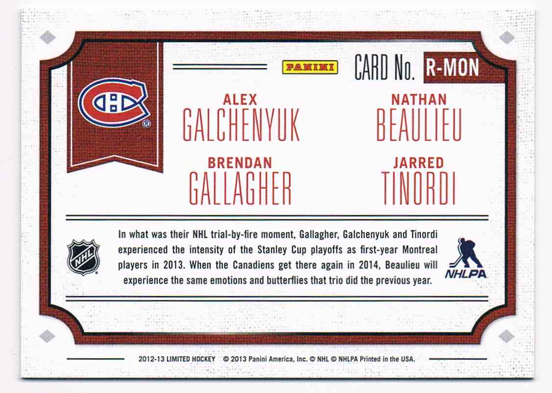 2012-13 Panini Limited Rookie Redemption Alex Galchenyuk/Brendan Gallagher/Nathan Beaulieu/Jarred Tinordi #R-MON card back image