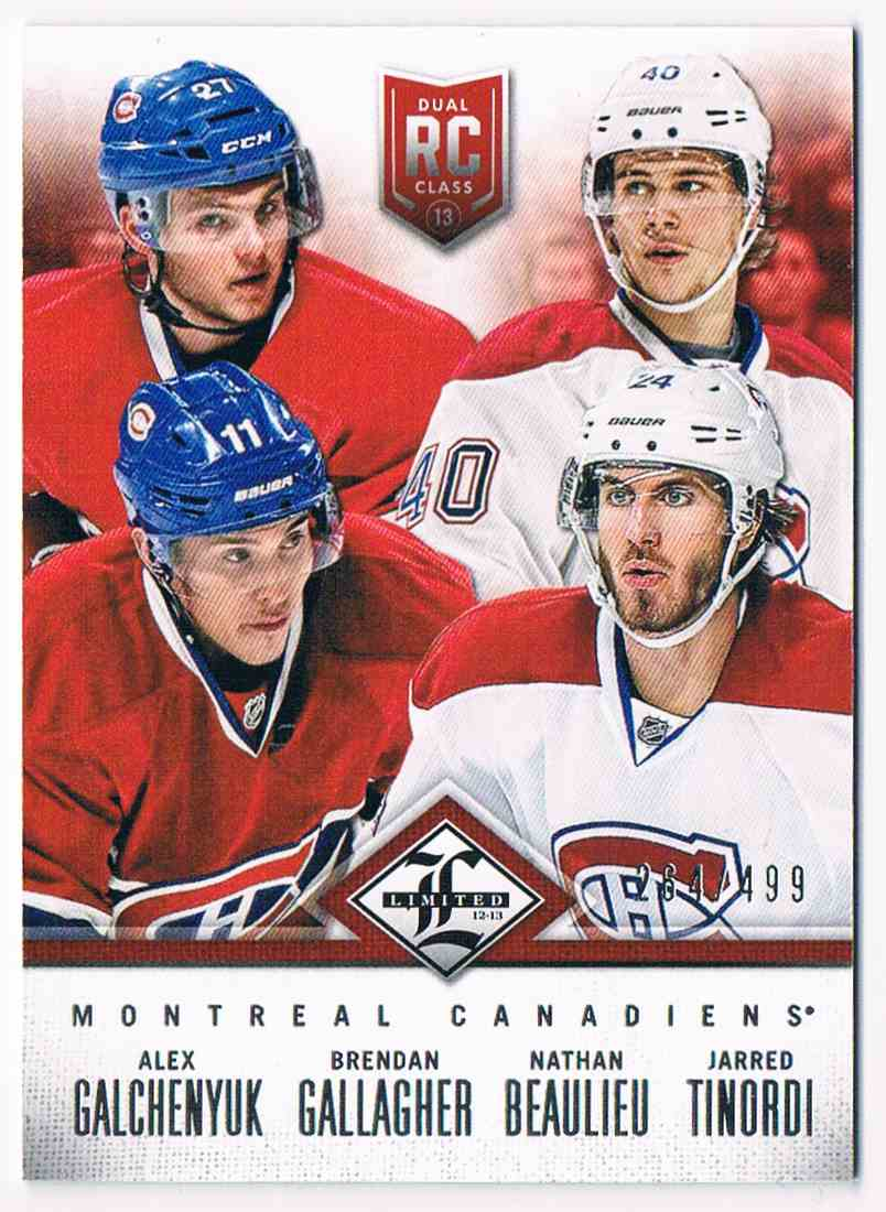 2012-13 Panini Limited Rookie Redemption Alex Galchenyuk/Brendan Gallagher/Nathan Beaulieu/Jarred Tinordi #R-MON card front image