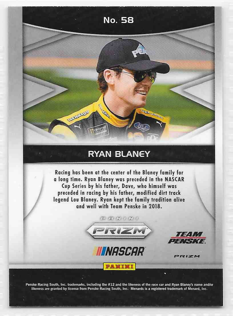 2018 Panini Prizm Camo Prizm Ryan Blaney #58 card back image