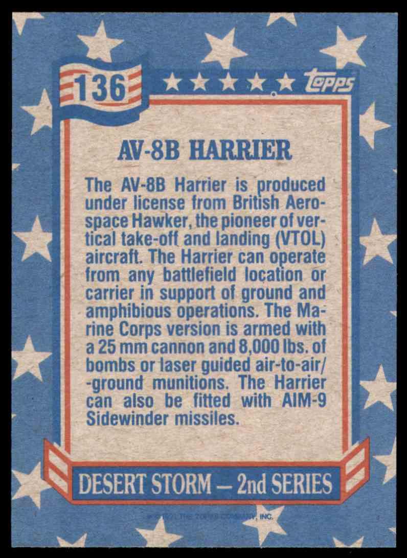 1991 Desert Storm Topps Av-8B Harrier #136 card back image