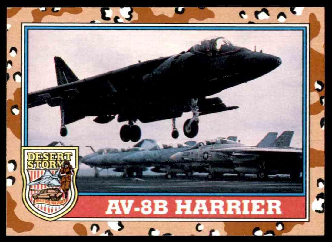 1991 Desert Storm Topps Av-8B Harrier #136 card front image