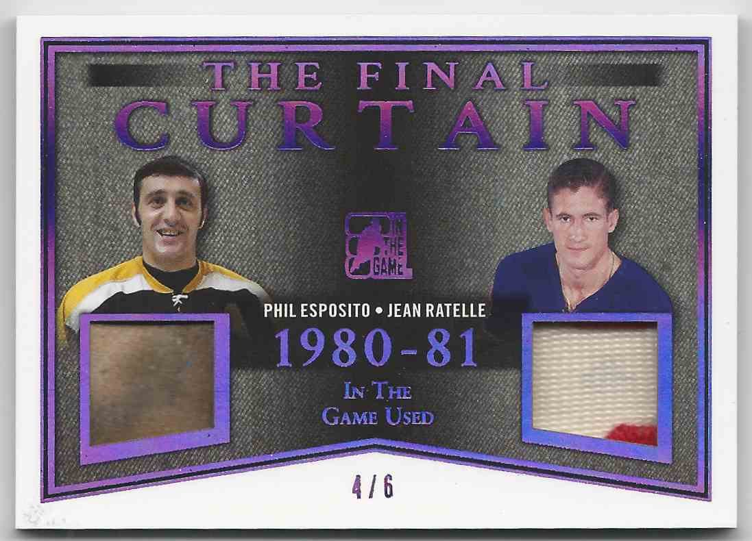 2017-18 ITG Used The Final Curtain Memorabilia Purple Spectrum Phil Esposito Jean Ratelle #TFC-14 card front image
