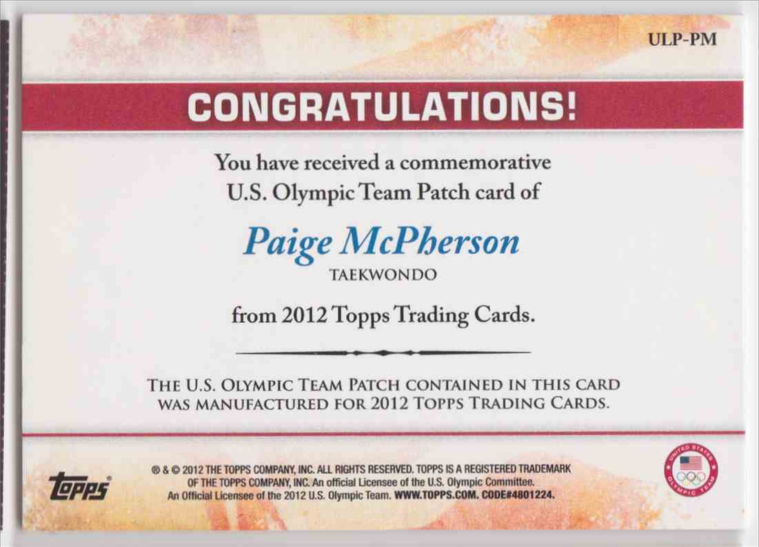 2012 Topps Commemorative U.S. Olympic Team Patch Paige Mcpherson #ULP-PM card back image