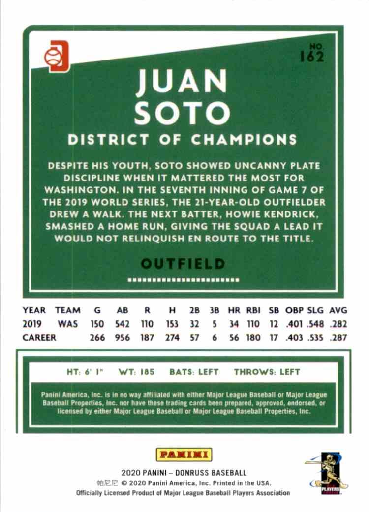 2020 Donruss Variations Juan Soto #162 card back image