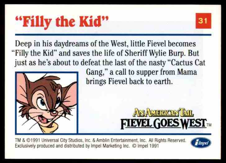 1991 An American Tail Filly The Kid #31 card back image