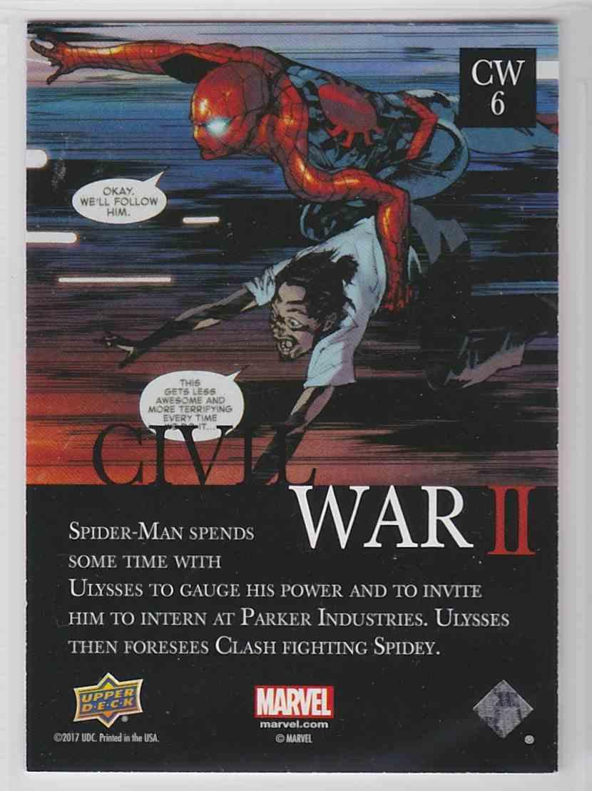 2017 Marvel Annual CIVIL War II Amazing Spider-Man #CW6 card back image
