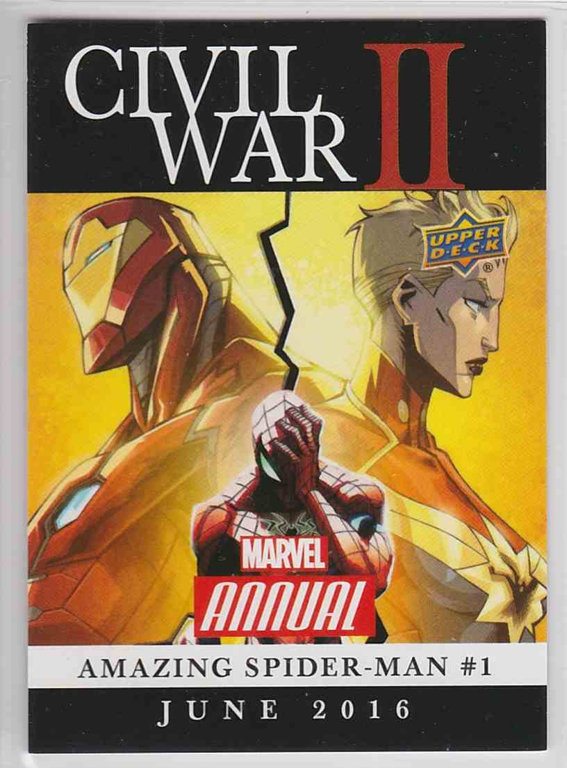 2017 Marvel Annual CIVIL War II Amazing Spider-Man #CW6 card front image