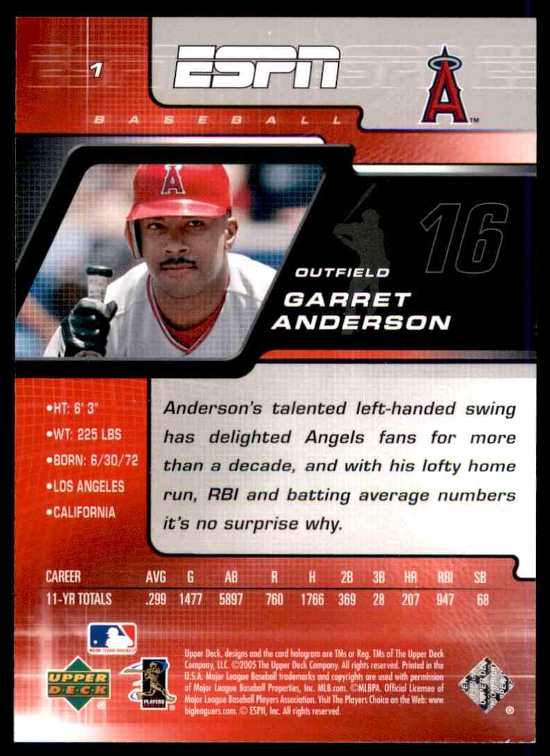 2005 Upper Deck ESPN Garret Anderson #1 card back image