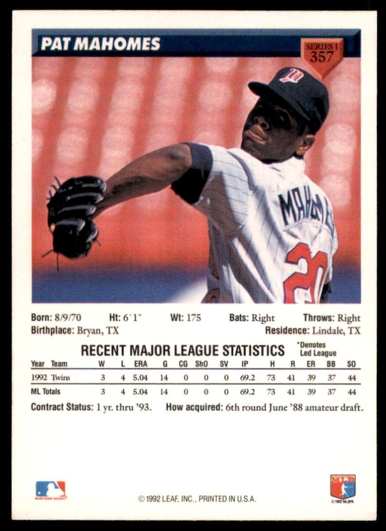 1993 Donruss Pat Mahomes #357 card back image